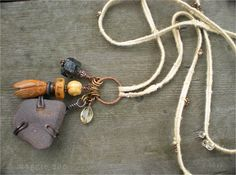 finger woven bamboo fiber, black garnet, jade cicada, bone prayer mala bead, citrine, wire wrapped stone from Mt. Ausangate in Peru. www.maggiezee.blogspot.com