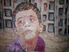 Geskea Andriessen 2017 Prijskaartje van de macht / Price of Power / 2017 inspiratie: internet -jongetje in Aleppo  Atbar, freemotion op ongebleektkatoen en papertransfer op lutrador