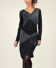 Love this Black Damask Crisscross Patchwork V-Neck Dress on #zulily! #zulilyfinds