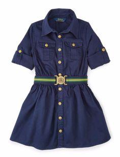 Ralph Lauren Girls 2-6X Chino Shirtdress