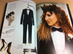 carrie bradshaw  | loved the head piece and the look - Dior tuxedo