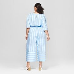 a22ac976ee07d Women's Plus Size Striped Wide Leg Colorblocked Culottes - Who What Wear  Blue X Who What