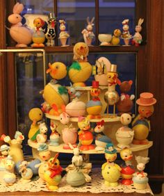 A wonderful collection of vintage Easter Candy Container , some nodders, c 1940s-1950s. Germany.
