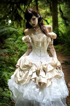Steampunk ideas corset , pickups , off shoulder, pearls