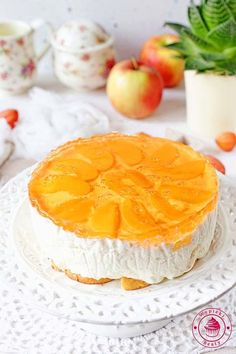 sernik brzoskwiniowy Polish Recipes, Polish Food, Grapefruit, Camembert Cheese, Cheesecake, Food And Drink, Cooking Recipes, Sweets, Cakes