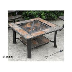 Fire Pit Table Wood Burning Charcoal Coffee Table Outdoor Patio Deck Garden Yard #Axxonn