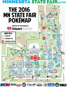 My local radio station mapped out pokestops gyms and charging stations for the state fair.