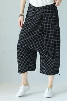 Casual Black Skinny Plaid Harem Pants Women Trousers - Women Dresses for Every Age! Linen Trousers, Trousers Women, Pants For Women, Clothes For Women, Maxi Outfits, Cool Outfits, Long Sweater Dress, Moda Chic, Type Of Pants