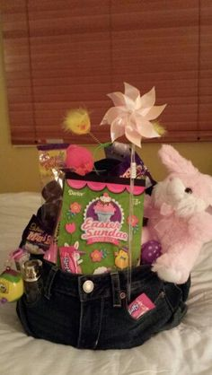 Easter gift basket for college student delightful easter teen easter gift with the jeans i bought for my daughter and her boyfriend negle Image collections