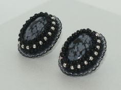 Snowflake Obsidian bead embroidered earrings