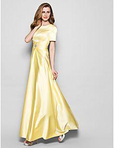 Mother of the Bride Dress Floor-length Short Sleeve Satin A-... – USD $ 79.99