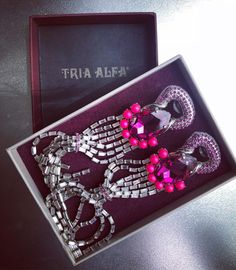 TRIA ALFA - custom made earrings for Ilinca Vandici. Created with Swarovski Crystals How To Make Earrings, Jewelry Party, Swarovski Crystals, Shoulder Bag, Bags, Inspiration, Instagram, Design, Fashion