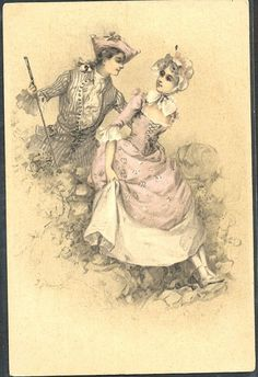 ~HB084 VIENNE Style COUPLE MARQUIS MARQUISE Romantique Belle LITHO ~