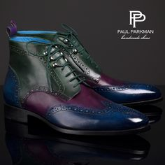 Paul Parkman Wingtip Ankle Boots Three Tone ' Blue / Purple / Green Website : www.paulparkman.com #paulparkman #paulparkmanshoes #wingtipboots #mensboots #leatherboots #handmade #bespoke #luxury #shoemaker #handcrafted #shoesformen #mensshoes #handmadeshoes #handcraftedshoes #patinashoes #bespokeshoes #customshoes #luxuryshoes #luxuryshoemaker #bespokeshoemaker #mensluxuryshoes #luxurymenswear