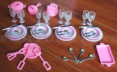2 GLORIA DOLL HOUSE FURNITURE Utensil Accessories Plates & Bowls SETs (80 Pcs)