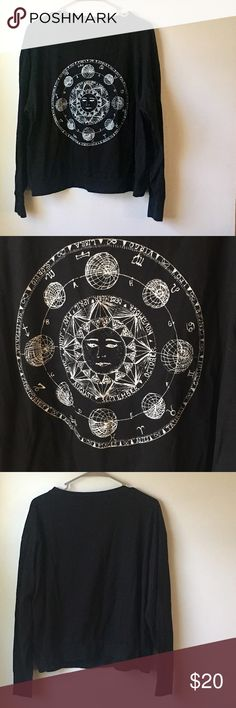 Brandy Melville Zodiac black long sleeve shirt EUC. No rips or stains. So cute! It's one size fits most. Brandy Melville Tops Tees - Long Sleeve