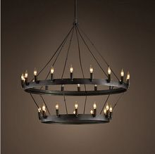 American style country double deck Iron wrought iron LED chandelier Light villa hall Pub E14 lamp(China (Mainland))