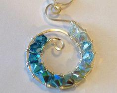 Blue Necklace Swarovski Crystal Necklace Wire Wrapped Jewelry Handmade Sterling Silver Jewelry Handmade Turquoise Necklace Swarovski Pendant