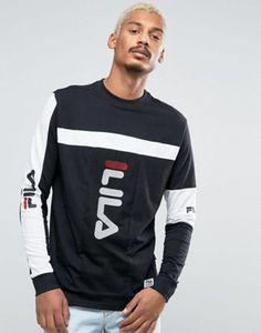 Fila Black Long Sleeve T-Shirt With Panel Logo