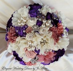 CUSTOM WEDDING BOUQUET - 9 Bouquets - $399.00 Full Price Simple Chic Elegant Brides Bouquet, Made to Order in your color scheme. Please allow 5-7 weeks for all bouquet orders... ___DETAILS _______________ -9 Lg Custom Made Sized Bouquet -Mix Satin Rosette and Fabric Chiffon Flower Mix -Quality Brooches and Gem accents through out the bouquet - Loose Ivory Pearl Accents - Elegant Pearl Accented handle  ** CUSTOM ORDERS WELCOME. Please visit my Etsy Shop Site or our website @ https://...