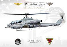 "UNITED SATATES MARINE CORPS MARINE LIGHT ATTACK HELICOPTER SQUADRON 467 (HMLA-467) ""Sabers"" MAG-29. MCAS New River, North Carolina"