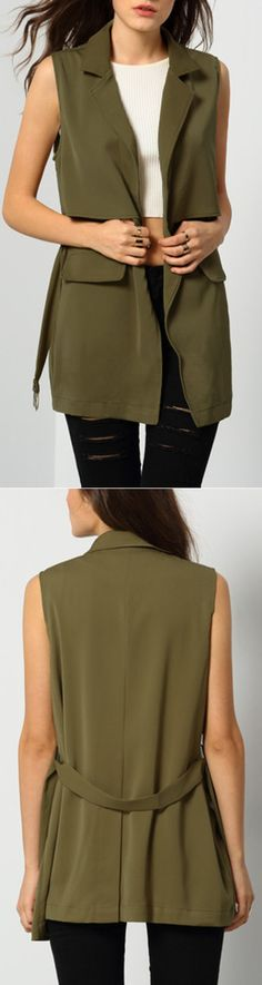 Women basic vest coat . Casual notch lapel self-tie coat in style army green. Come romwe.com. to save more with 100% quality guarantee!