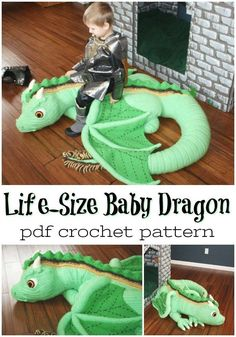 New No Cost crochet amigurumi dragon Thoughts Wow! What an amazing life sized baby dragon amigurumi crochet pattern! MY KID WOULD LOVE THIS! Dragon En Crochet, Crochet Dragon Pattern, Crochet Animal Patterns, Stuffed Animal Patterns, Crochet Patterns Amigurumi, Crochet Dolls, Baby Patterns, Crochet Stitches, Knitting Patterns
