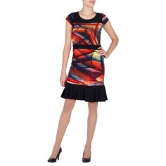 RED RUSHED TIE DRESS