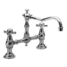 Newport Brass 945 Fairfield Double Handle Bridge Kitchen Faucet with Metal Cross Polished Chrome Faucet Kitchen Double Handle
