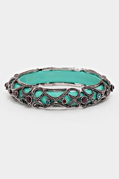 Amria Bracelet Polished Turquoise Dipped Wood Encased in Burnished Silver and Gorgeousness of Crystals.