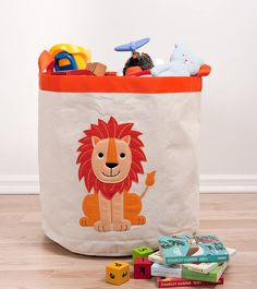 lion storage hamper by the little blue owl | notonthehighstreet.com