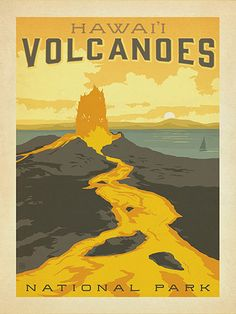 Hawai'i Volcanoes National Park - Anderson Design Group has created an award-winning series of classic travel posters that celebrates the history and charm of America's greatest cities and national parks. Founder Joel Anderson directs a team of talented Nashville-based artists to keep the collection growing. This print features the molten majesty of the Hawai'i Volcanoes National Park.