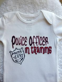 White Police Officer in Training with Badge Onesie   MissPhiesBoutique - Clothing on ArtFire