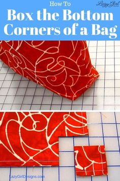 Easily box the bottom corners on every bag you make with this step-by-step free sewing tutorial. Add depth to your sewing bag patterns. Easy Sewing Projects, Sewing Projects For Beginners, Sewing Hacks, Sewing Tutorials, Sewing Crafts, Sewing Tips, Sewing Ideas, Tote Bag Tutorials, Bags Sewing