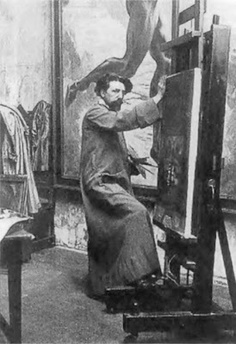Photo of the Belgian Symbolist painter Jean Delville at work in his studio Magritte, Famous Artists, Great Artists, Leo Tolstoi, Théo Van Rysselberghe, Jean Delville, James Ensor, Pictures At An Exhibition, Alfred Stevens