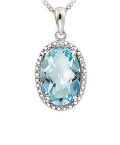 For a dose of bling with a touch of class, opt for the style of this pendant necklace. Dazzling topaz and a diamond-accent setting craft an elegant look with eye-catching shine.