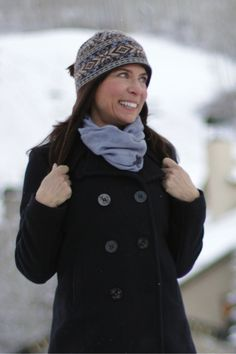 """Brrrr! Snow in the mountains #MadeinUSA Outfit details: navy blue wool Fidelity Pea Coat; Citizens of Humanity """"Ava"""" jeans; Zkano over-the-knee socks; knit hat by Turtle Fur"""