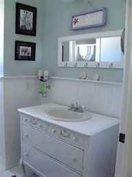 Like this for the small bathroom.  Toilet would sit to the left of the vanity