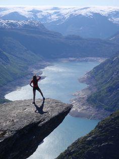 Trolltunga, Hardangerfjord, Norway. 10 hours hard hike to go there and return. www.opplevodda.com