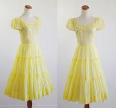 Vintage 50s Dress  1950s Sheer Lemon Yellow Circle by mituvintage, $138.00