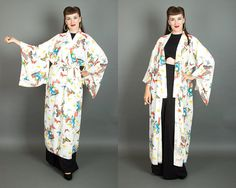 Vintage 60s Butterfly Novelty Print Kimono | 1960s White Crepe Long Asian Duster…