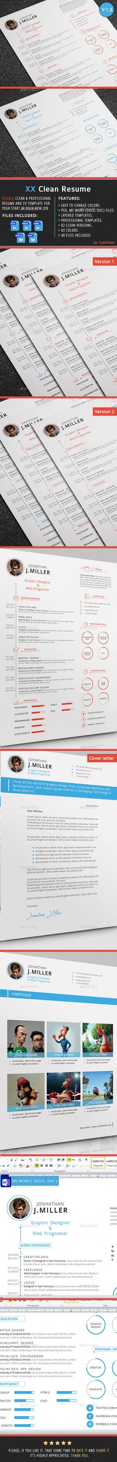 XX Clean Resume Template PSD. Download here: http://graphicriver.net/item/xx-clean-resume/7172985?s_rank=1772&ref=yinkira