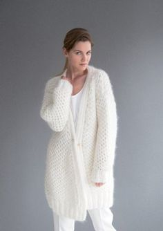 Brioche Cardigan in Rico Fashion Big Mohair and Essentials Mohair - 385 - Downloadable PDF