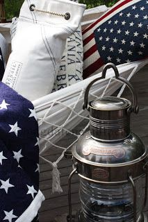 Nautical pillows for porch. from Par Courrier store via the owner http://magdalenashem.blogspot.co.uk