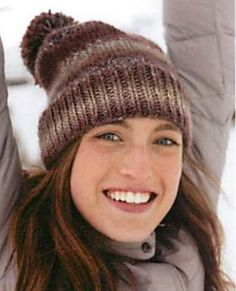 Free knitting pattern: Classic Variegated Hat. Just say no to cold ears, by wearing this cozy pom pom hat from Jimmy Beans Wool.
