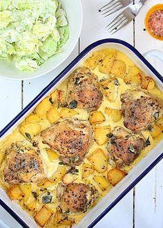 Kurczak pieczony z ziemniakami w sosie śmietankowo-musztardowym - etap 7 Easy Chicken Recipes, Meat Recipes, Cooking Recipes, Healthy Recipes, B Food, Good Food, Kitchen Recipes, Food Inspiration, Food And Drink