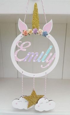 Personalised wooden dreamcatcher, Unicorn dreamcatcher, hanging stars clouds wall decor, nursery wall art, nursery decor for tweens pom crafts crafts crafts Unicorn Bedroom Decor, Unicorn Rooms, Unicorn Decor, Unicorn Wall, Unicorn Kids, Kids Crafts, Summer Crafts For Kids, Preschool Crafts, Diy Unicorn Birthday Party