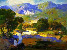 Bathers in a Mountain Stream. 1917. Franz Bischoff.