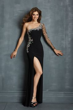 Shop Top One Sleeve Column Sheath Long Prom Dress Black 2014 New Style Online affordable for each occasion. Latest design party dresses and gowns on sale for fashion women and girls.