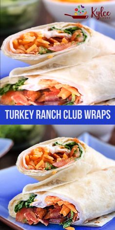 Turkey club wraps with ranch and bacon are delicious and easy to make. - Turkey club wraps with ranch and bacon are delicious and easy to make. They're the perfect take-a - Healthy Wraps, Healthy Diet Recipes, Healthy Foods To Eat, Healthy Snacks, Healthy Eating, Cooking Recipes, Veggie Wraps, Amish Recipes, Dutch Recipes